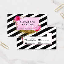 Pink gold foil Floral business card