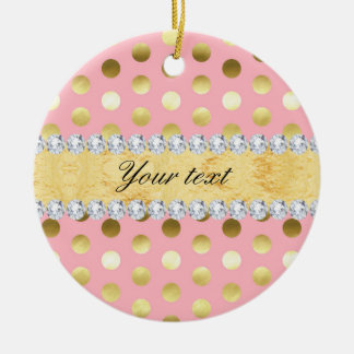 Pink Gold Foil Polka Dots Diamonds Ceramic Ornament