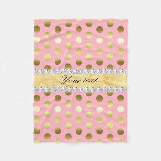 Pink Gold Foil Polka Dots Diamonds Fleece Blanket