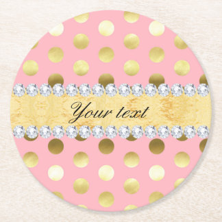 Pink Gold Foil Polka Dots Diamonds Round Paper Coaster