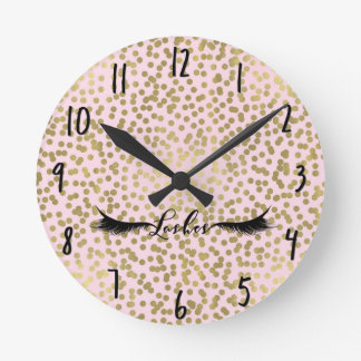 Pink Gold Foil Shine Shiny Dots Glam Lashes Salon Round Clock
