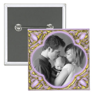 Pink & Gold Frame 2 Inch Square Button