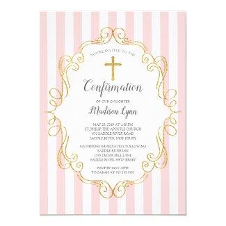 Pink & Gold Frame Girls Confirmation Invitation