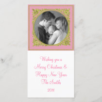 Pink & Gold Frame Holiday Card