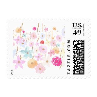 Pink Gold Garden Floral Stamp