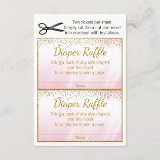 Pink Gold Girls Diaper Raffle Tickets