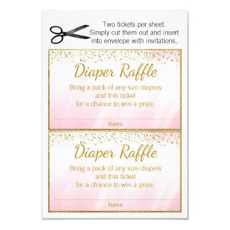 Pink Gold Girls Diaper Raffle Tickets Card
