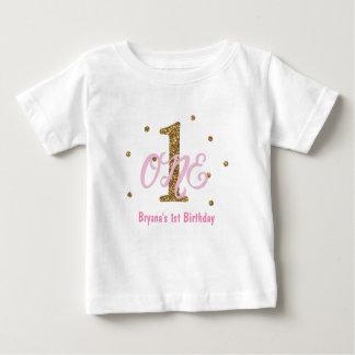 Pink & Gold Girls ONE 1st Birthday Party Custom Baby T-Shirt