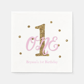Pink & Gold Girls ONE 1st Birthday Party Paper Napkin
