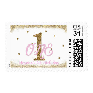 Pink & Gold Girls ONE 1st Birthday Party Postage