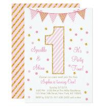 Pink & Gold Glitter 1st Birthday Card