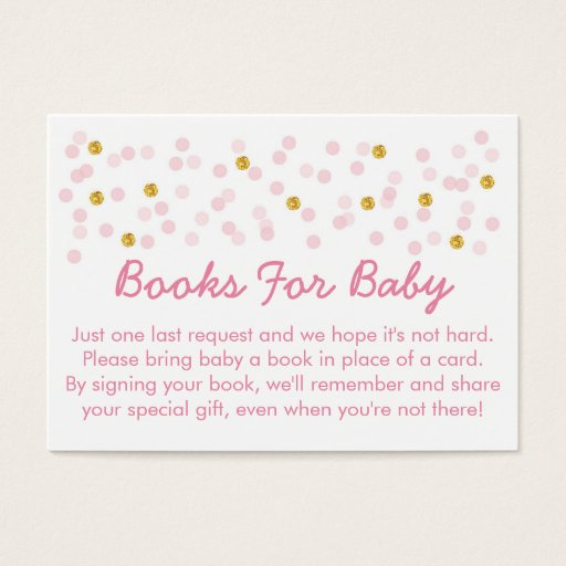 Pink & Gold Glitter Baby Shower Book Request Cards