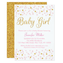 Pink & Gold Glitter Baby Shower Card