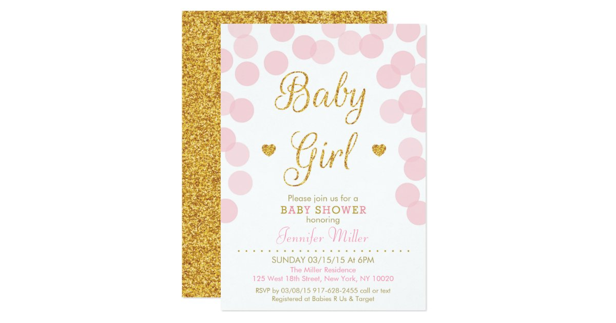 Gold And Pink Baby Shower Invitation.Gold And Pink Baby Shower ...