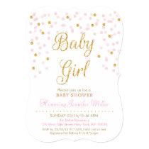 Pink & Gold Glitter Baby Shower Invitations