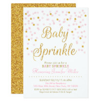 Pink & Gold Glitter Baby Sprinkle Card