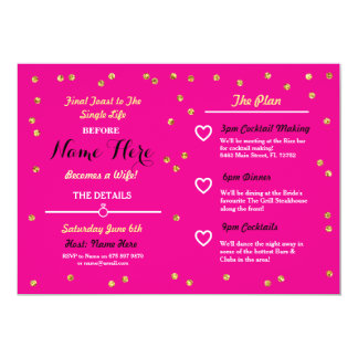 Pink Gold Glitter Bridal Shower Itinerary Invite