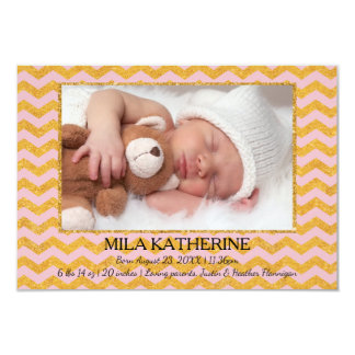 Pink/Gold Glitter Chevron - 3x5Birth Announcement