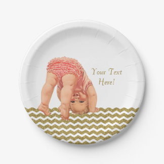 Pink Gold Glitter Chevron Baby Shower Paper Plate