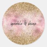 Pink Gold Glitter Classic Round Sticker