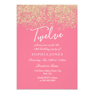 Pink Gold Glitter Confetti 12th Birthday Party Invitation