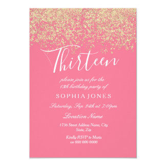 Pink Gold Glitter Confetti 13th birthday party Card