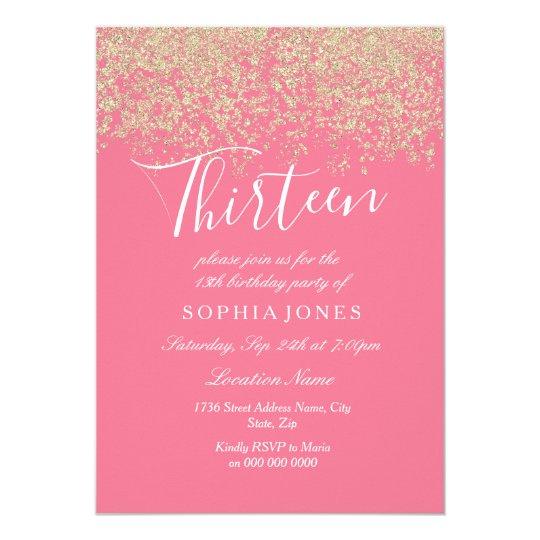 Pink gold glitter confetti 13th birthday party invitation zazzle pink gold glitter confetti 13th birthday party invitation filmwisefo