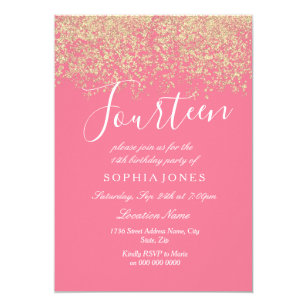 14th birthday invitations zazzle