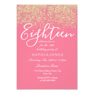 Pink Gold Glitter Confetti 18th birthday party Card