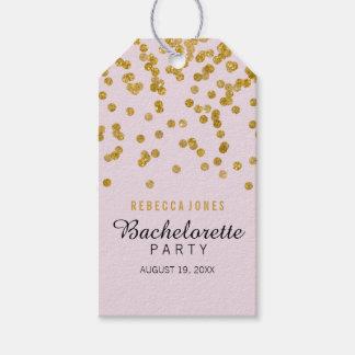 Pink Gold Glitter confetti Bachelorette Gift Tags