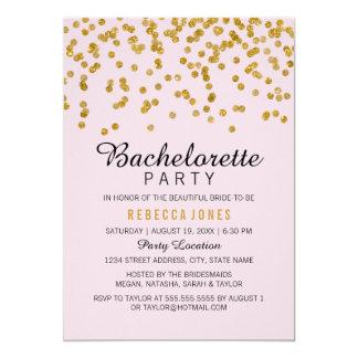 Pink Gold Glitter Confetti Bachelorette Party Card