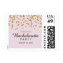 Pink Gold Glitter confetti Bachelorette Stamps