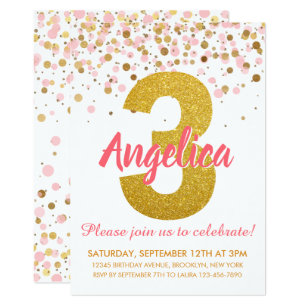 third birthday invitations zazzle