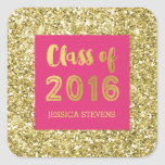 Pink Gold Glitter Confetti Graduation Custom Name Square Sticker