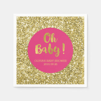 Pink Gold Glitter Confetti Oh Baby Baby Shower Napkin