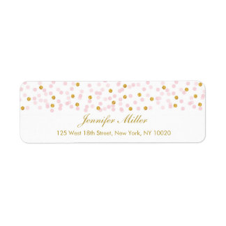 Pink & Gold Glitter Confetti Return Address Labels