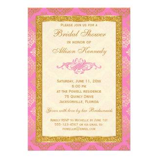 Pink Gold Glitter Damask Bridal Shower Invitation