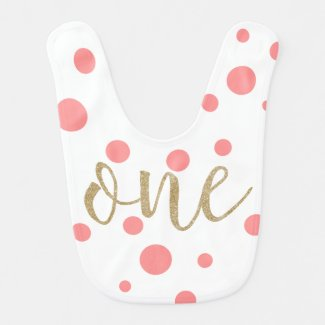 Pink & Gold Glitter First Birthday Bib