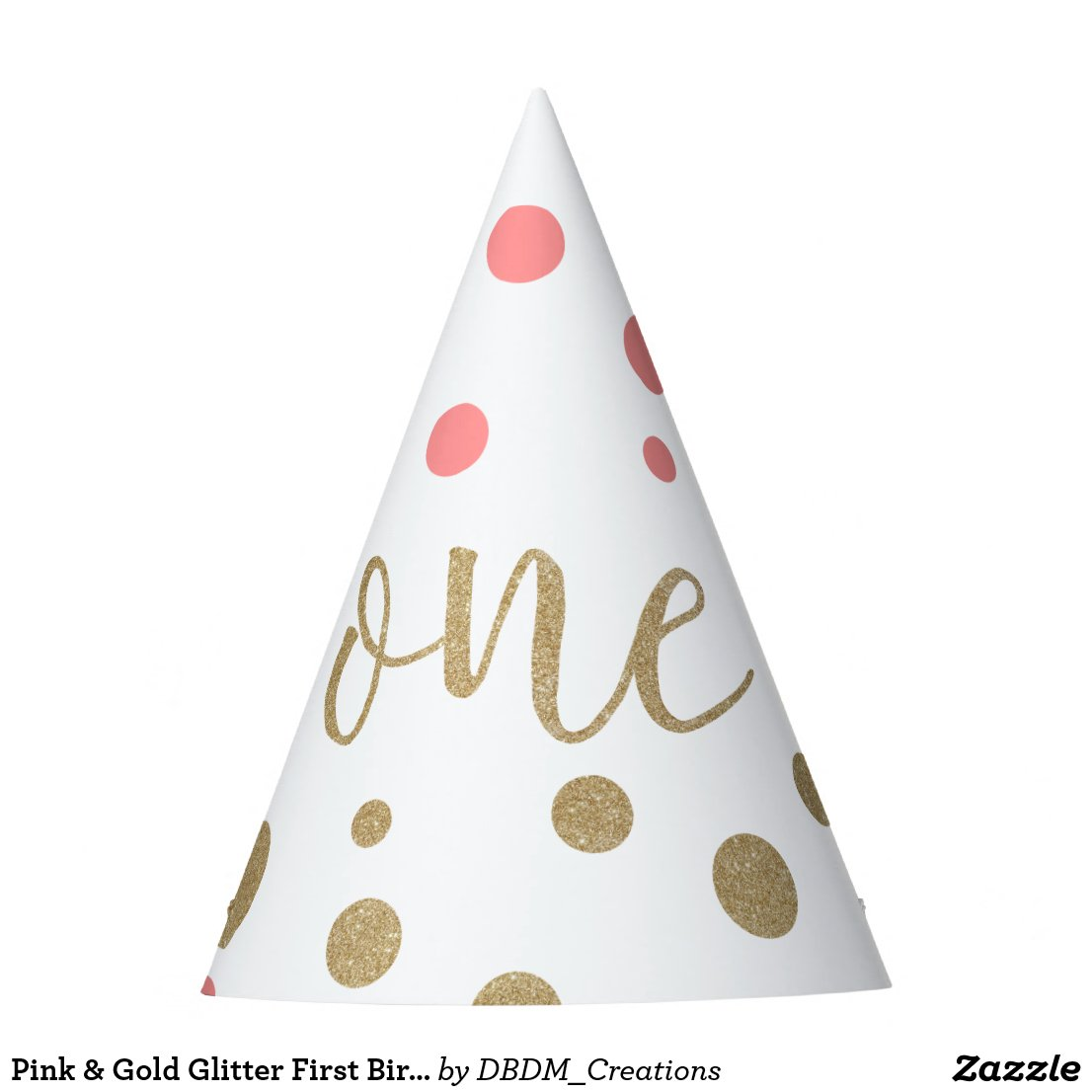 Pink & Gold Glitter First Birthday Hats
