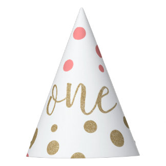 Pink & Gold Glitter First Birthday Hats
