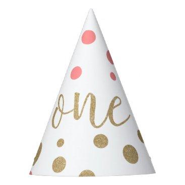 birthday Pink & Gold Glitter First Birthday Hats