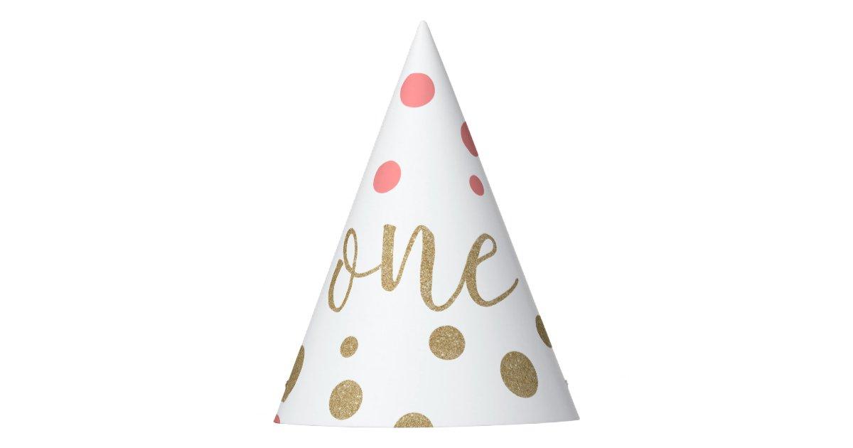 Pink Gold Glitter First Birthday Hats
