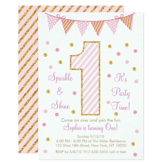 Pink & Gold Glitter First Birthday Invitations   Zazzle