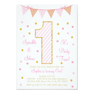 Pink & Gold Glitter First Birthday Invitations