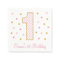Pink & Gold Glitter First Birthday Napkins