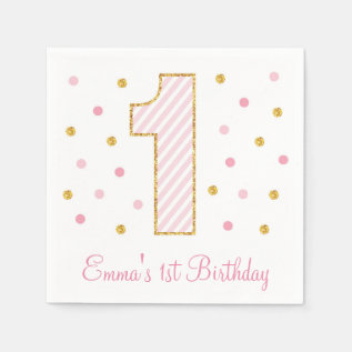 Pink & Gold Glitter First Birthday Napkins at Zazzle