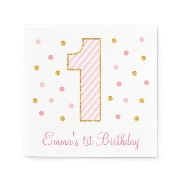birthday Pink & Gold Glitter First Birthday Napkins