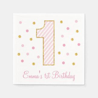 Pink & Gold Glitter First Birthday Napkins Standard Cocktail Napkin
