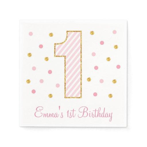 Pink & Gold Glitter First Birthday Paper Napkin
