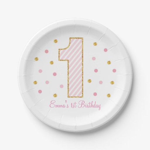 Pink & Gold Glitter First Birthday Paper Plate